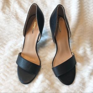 NWOT Express Black Leather Open Toe Pumps Size 7